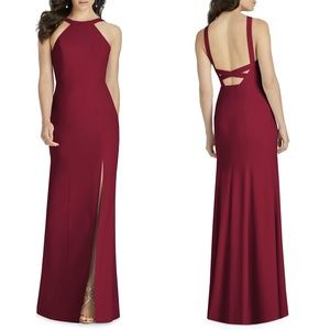 NEW DESSY Collection Cutaway Shoulder Crepe Gown 4